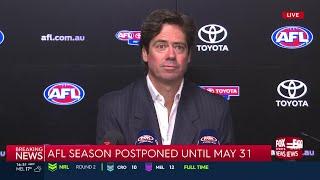 Gillon McLachlan announces AFL suspension and AFLW cancellation