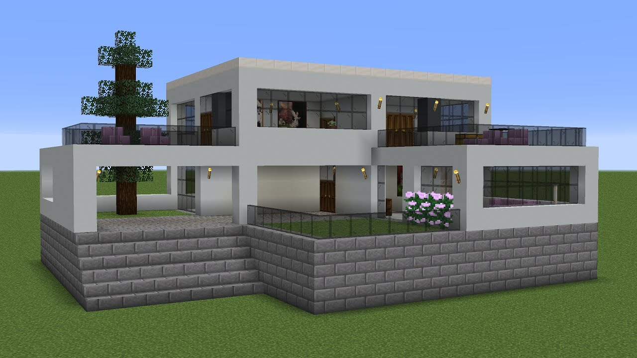 Minecraft - How to build a modern mansion 7