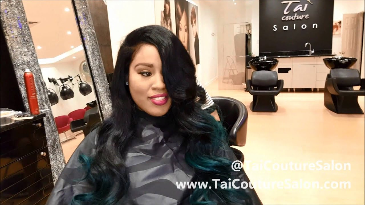 Full Sew In Weave Extensions Wigs Teal Hair Youtube