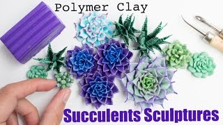 How to Sculpt Flowers and Plants // Polymer Clay Succulents