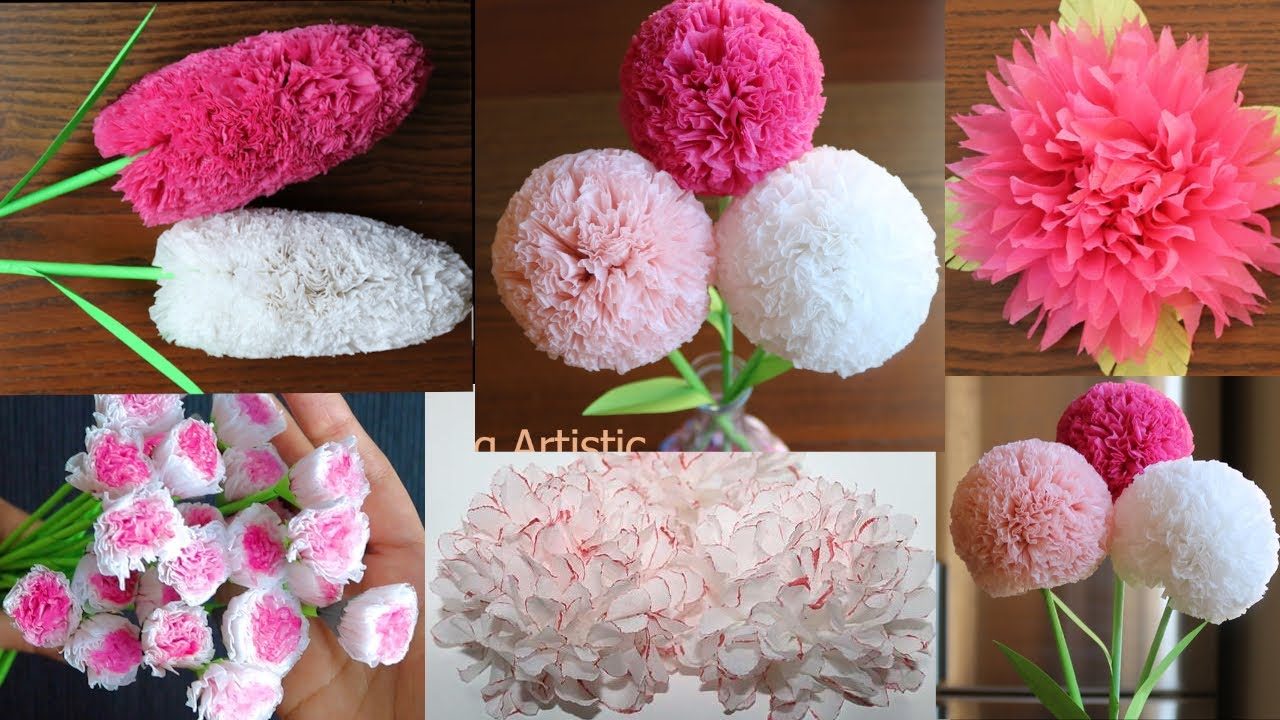 5 Beautiful Tissue Paper Flowers - Paper Craft - Paper Flower