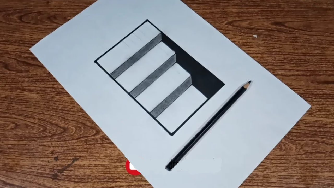 Very easy how to draw 3d Ladder illusions for kids
