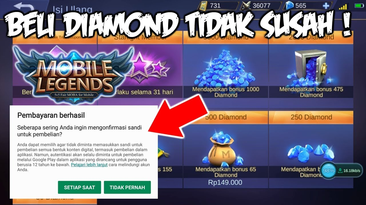 Cara Beli Diamond Top Up Diamond Mobile Legends Dengan Mudah Youtube