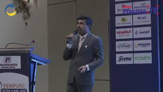 Mr. Cyril Pereira speaking on the opportunities and facilities at IndiaPlast 2019 Vadodara Roadshow