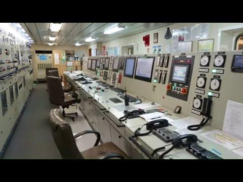 Engine room of a 300 000 ton oil tanker (VLCC) bonus: Boilers & Engine control room