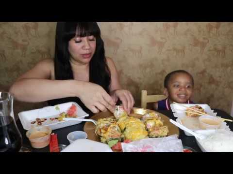 FRIED SUSHI ROLLS+CRAB MEAT+CREAM CHEESE SUSHI MUKBANG