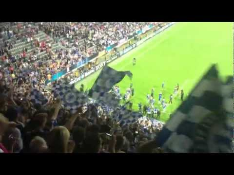 Chelsea fans singing blue is the colour at the Allianz Arena after winning the Champions League