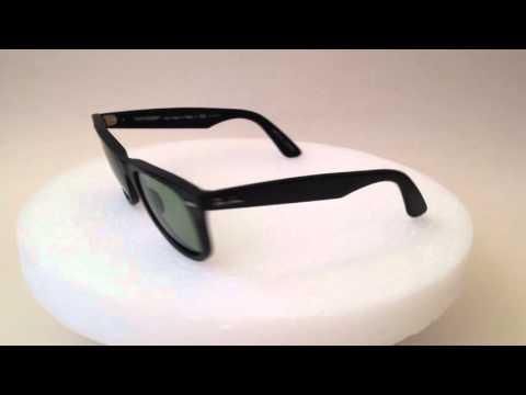 3979f3816d Ray-Ban Polarized Wayfarer Sunglasses Matte Black and Light Green Lens  rb2140 901so5 50mm