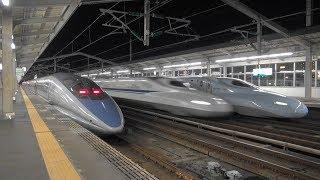 JR西日本 山陽新幹線 三原駅 700 500 N700系 入線 発車 & のぞみ 上下 高速通過 2018 10