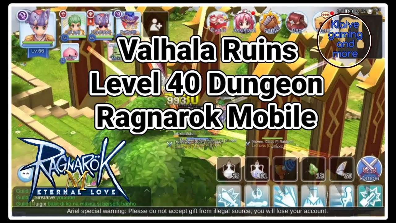 Valhala Ruins Level 40 Dungeon: Ragnarok Mobile Eternal Love
