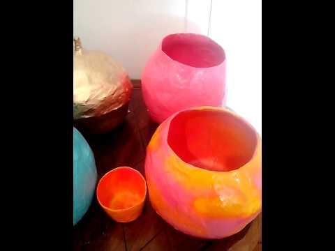 Paper Mache Bowls Vases Youtube