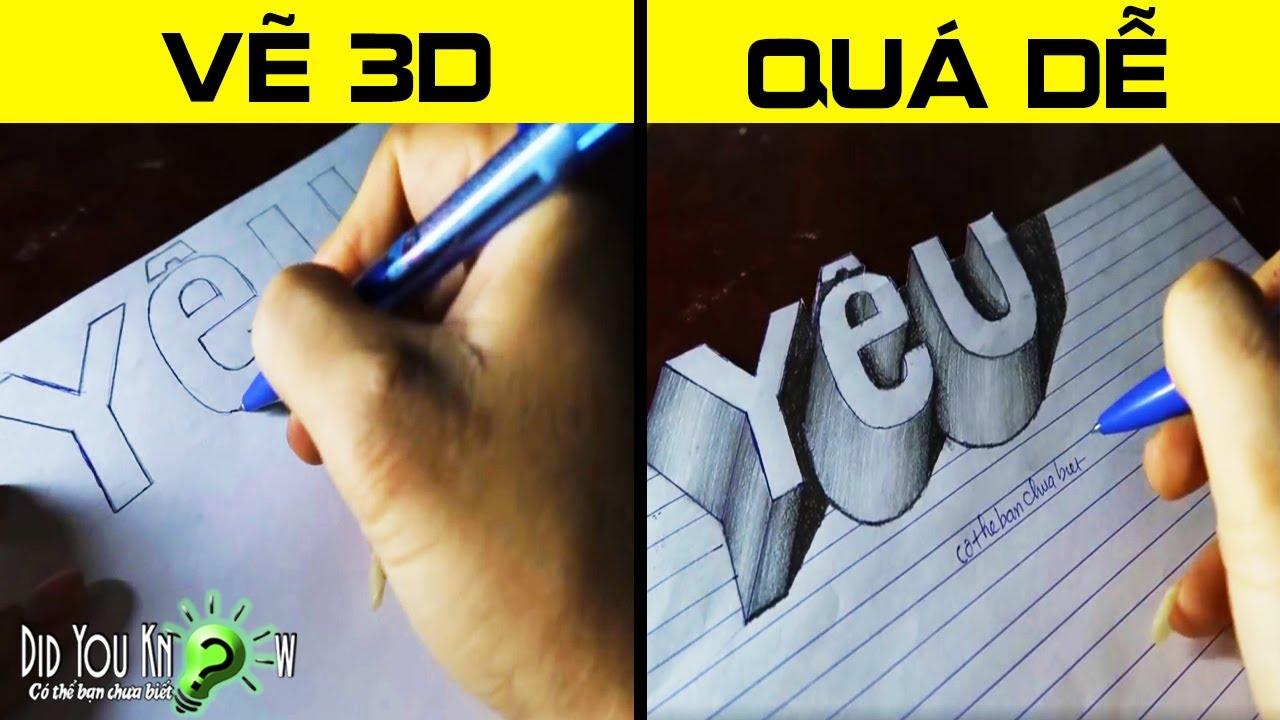 Cách vẽ chữ YÊU – Vẽ 3D đơn giản(3D Trick Art) | Có thể bạn chưa biết?