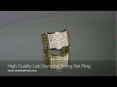 Clean Style Iced Out Rings with Lab Made Diamonds - JewelryFresh.com