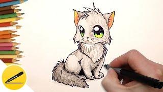 Как Нарисовать Кошку (котенка) аниме поэтапно | Рисуем кошку в аниме стиле