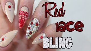 HOW TO: Red Lace Acrylic Nails