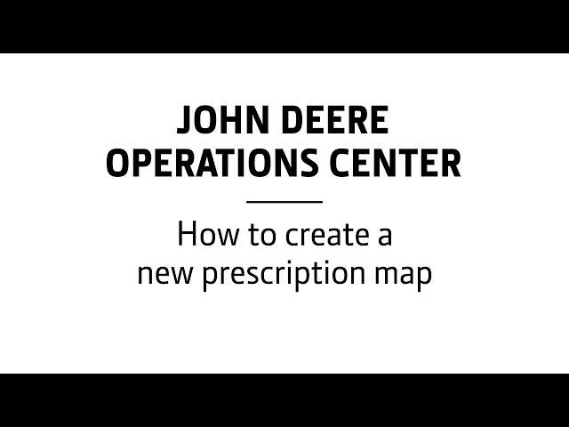 John Deere - Centre d'opérations - Comment créer une nouvelle carte de préconisation