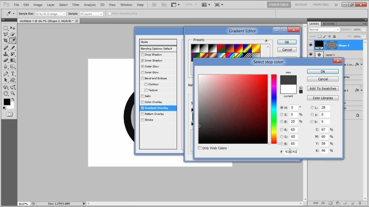 How to create a metallic button in Photoshop