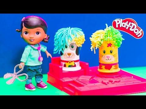 DOC MCSTUFFINS + PLAYDOH Doc McStuffins Disney Play Doh Hairy Dog Video Toy Parody