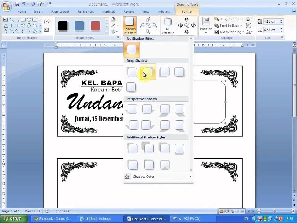 cara membuat bingkai undangan di microsoft word 2007