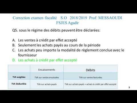 correction examen fiscalité S.O 2018/2019 prof : Messaoudi