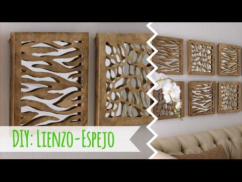 Diy como hacer un cuadro con un lienzo y un espejo youtube for Como hacer un espejo con marco de madera