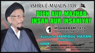 Ayatullah Hamidul Hasan | 1st Majlis Ashra 1439 2017 | Nazimia Madarsa Lucknow India