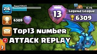 #Top13 Top 13 Number Player Clash OF Clans ATTACK REPLAY (Hindi)Sam1735