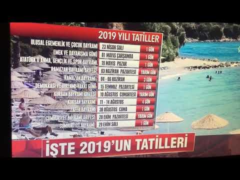 2019 RESMİ TATİLLER