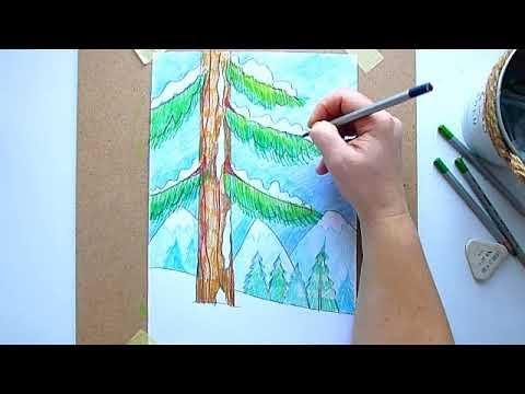 1 клас. Мистецтво. Тема: подорожуємо до Карпат. Малюємо зимові Карпати кольоровими олівцями