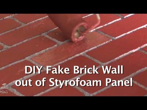 DIY Fake Brick Wall out of Styrofoam Panel