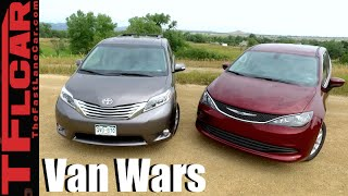 2017 Chrysler Pacifica vs Toyota Sienna Minivan Drag Race & Mashup Review