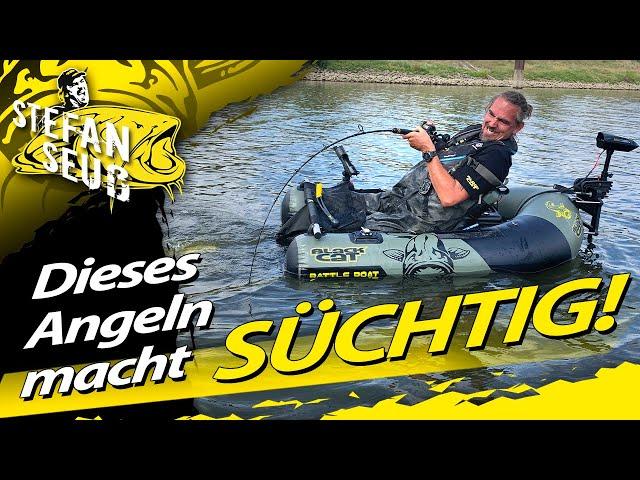 Dieses Angeln mach SÜCHTIG!!!| WELSANGELN mit dem Belly Boat auf Fluss und Altarm in Deutschland
