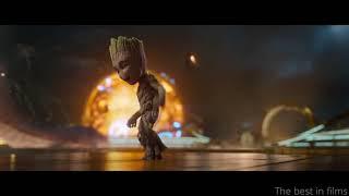 Стражи Галактики 2. Танец Грута на фоне битвы.