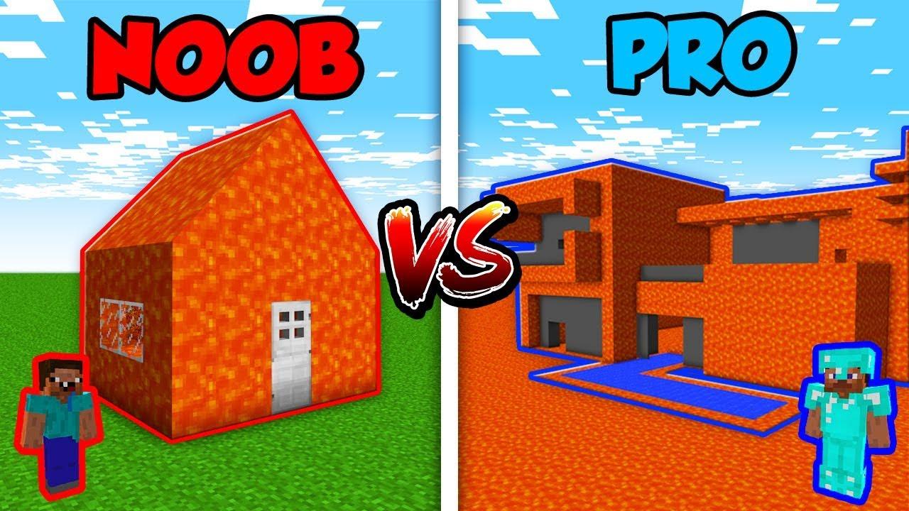 Minecraft Noob Vs Pro Modern Lava House In Minecraft Animation Youtube