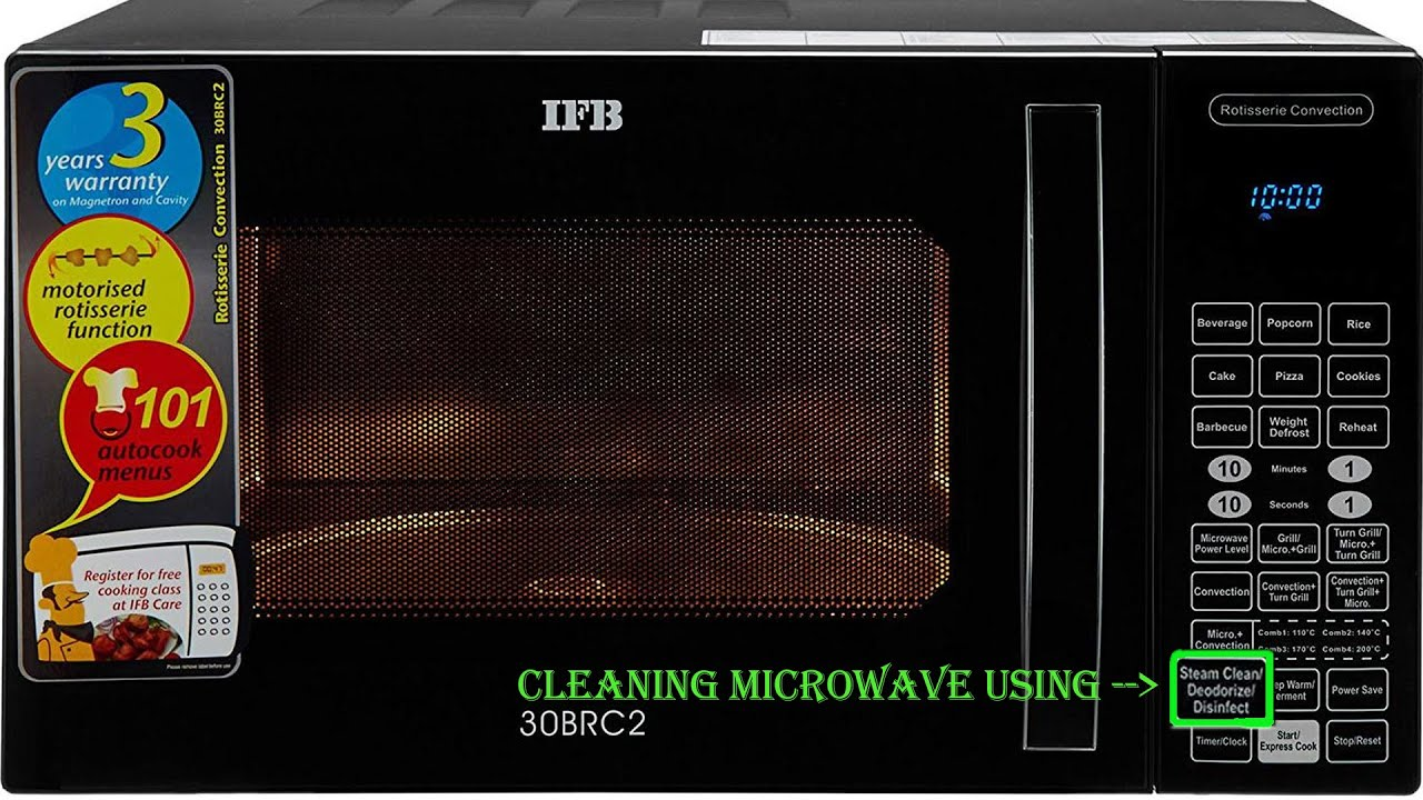 how to use steam clean function of ifb 30brc2 microwave oven ifb microwave cleaning hacks