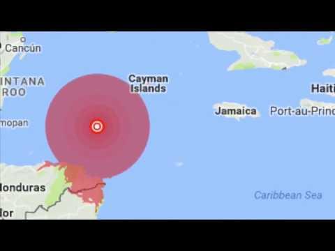 A massive 7.6 magnitude earthquake rocked Honduras and Caribbean islands,sparking fears of tsunami.