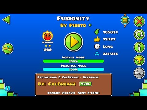 Geometry dash - Fusionity (100% ALL COINS) by Piseto