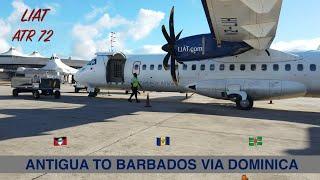 LIAT (LEEWARD ISLANDS AIR TRANSPORT SERVICES)   ANTIGUA TO BARBADOS VIA DOMINICA   ATR   TRIP REPORT