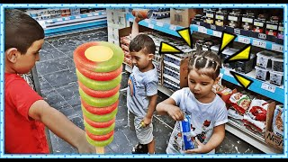 Küçük Market  Sepeti ile Alışveriş Yaptık Kocaman Dondurma Aldık market market sepeti