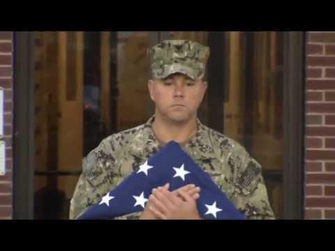 Veterans Day Flag Raising at Newport News Shipbuilding.