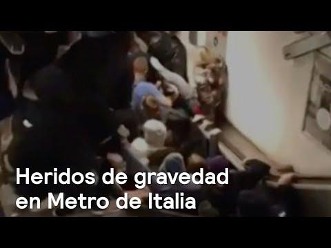 Caos por falla en escalera mecánica en el Metro de Roma - A las Tres