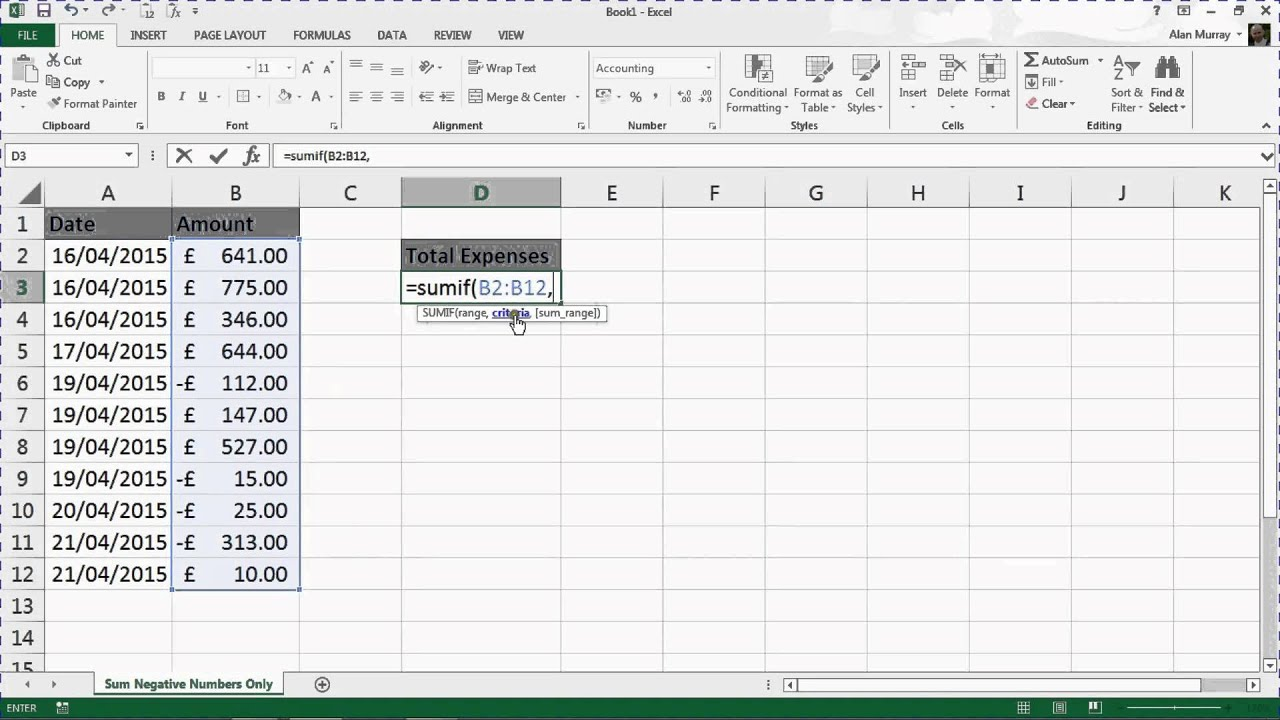 How to make an excel column negative - Sum Negative Numbers Only In A Range