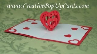 Repeat youtube video Valentine's Day Pop Up Card Tutorial: 3D Heart