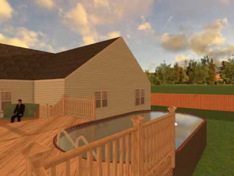 12x24 Oval Above Ground With Two Tiered Deck Youtube
