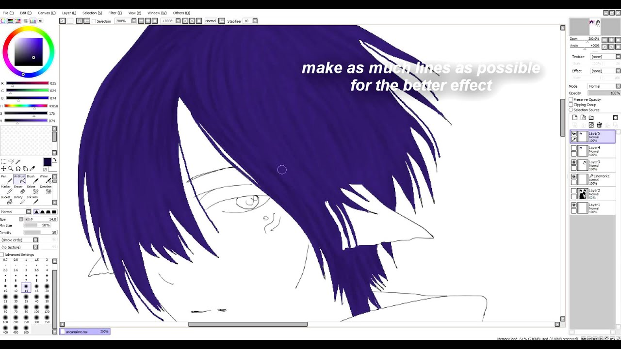 How To Color Anime Hair With Paint Tool Sai Tutorial YouTube