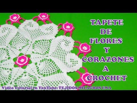 Tapete O Carpeta A Crochet De Flores Y Corazones Parte 1 Paso A Paso