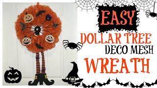 DOLLAR TREE DECO MESH HALLOWEEN WREATH TUTORIAL   EASY