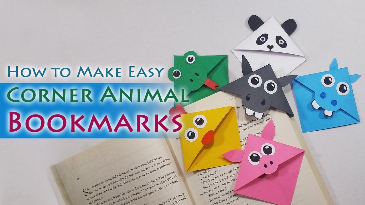 Diy cute animal bookmarks how to make cute animal corner How to make a simple bookmark