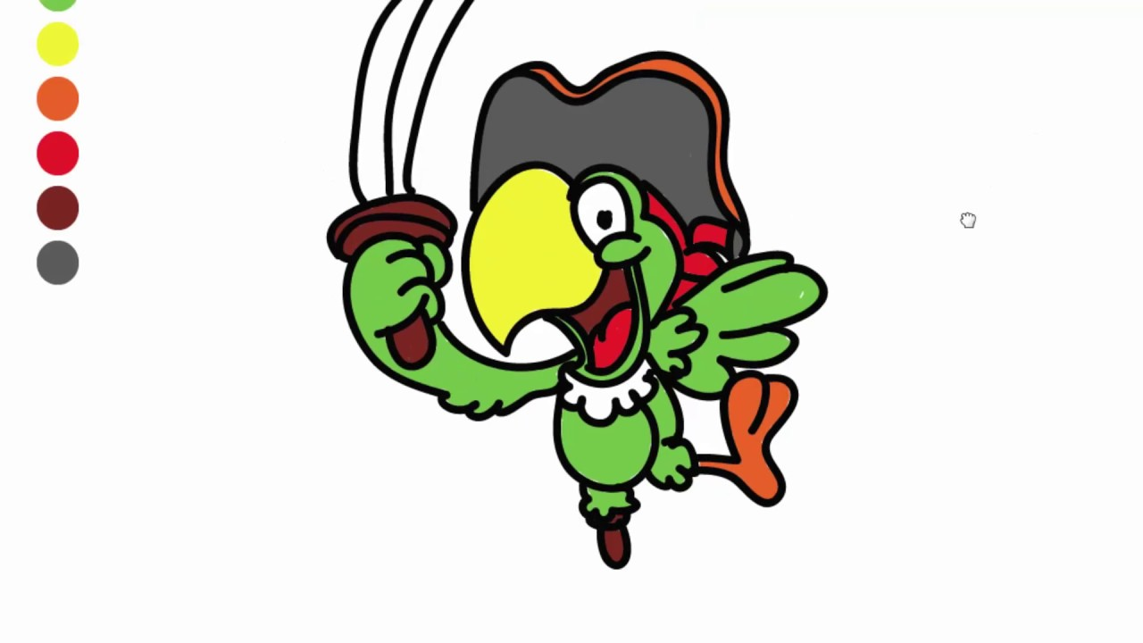 how to draw cartoon characters parrot coloring pages for kids tv