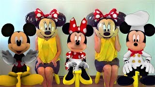 FIVE Little MICKEY and MINNIE MOUSE Jumping On The Bed. Children Nursery Rhyme and Songs